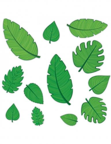 12 Cutouts en carton feuilles vertes 10 - 30 cm