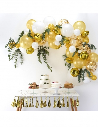 Kit arche de 70 ballons en latex dorés