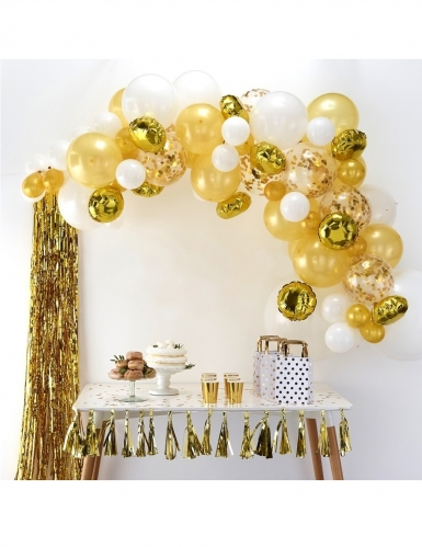 Kit arche de 70 ballons en latex dorés-1