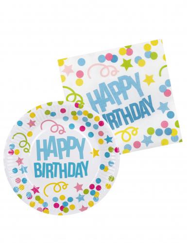 Kit vaisselle 6 personnes Confettis Happy Birthday