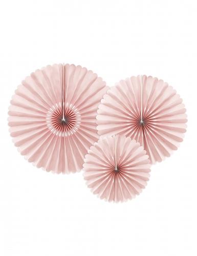 3 Rosaces décoratives en papier roses poudrées 26, 34,5 et 43 cm