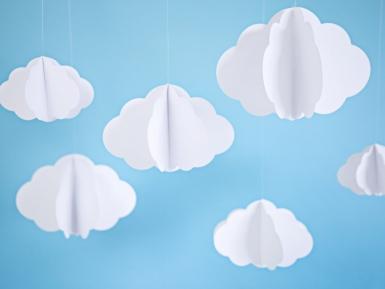 3 Nuages en carton à suspendre blancs 17 - 28 cm