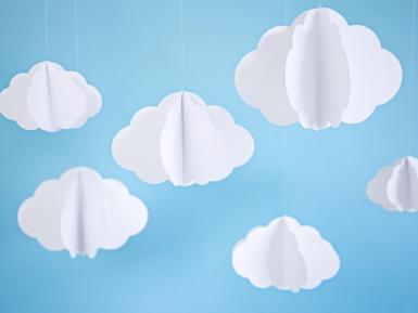 3 Nuages en carton à suspendre blancs 17 - 28 cm-1