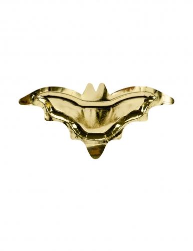 6 Assiettes en carton chauve souris dorées métallisées 37,5 x 18,5 cm