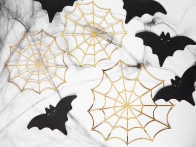 3 Décorations en papier toiles d'araignées dorées 23 et 18 cm-1