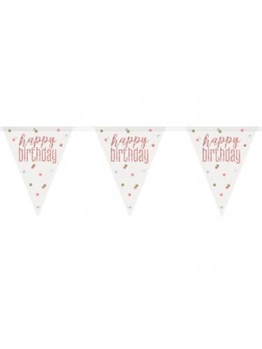 Guirlande fanions en plastique happy birthday blanche et rose 2,74 m