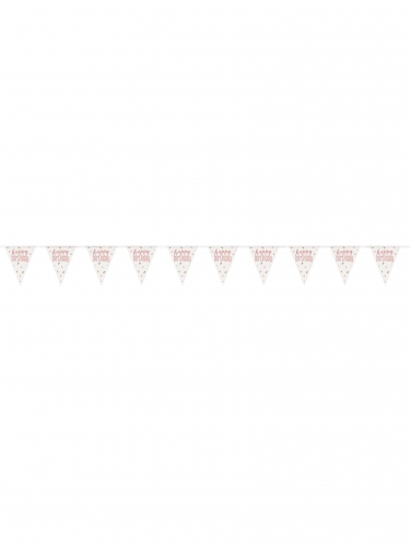 Guirlande fanions en plastique happy birthday blanche et rose 2,74 m-1