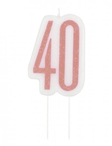 Bougie d'anniversaire sur pic 40 ans rose pailleté 7 cm