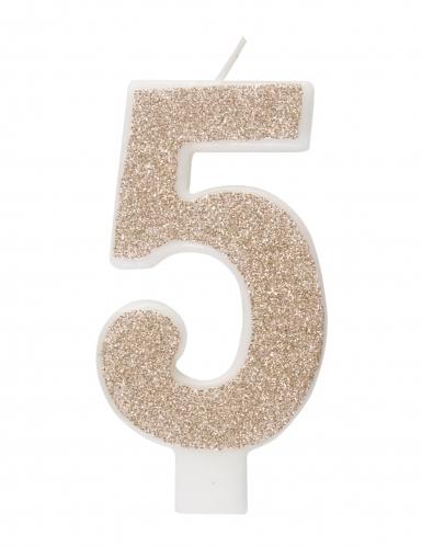 Bougie d'anniversaire chiffre champagne pailletée 7 cm-5