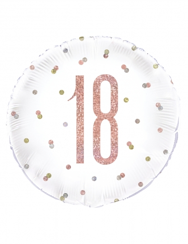 Ballon en aluminium 18 blanc et rose pailleté 45 cm
