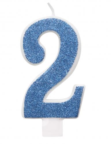 Bougie d'anniversaire chiffre bleue pailletée 7 cm-2