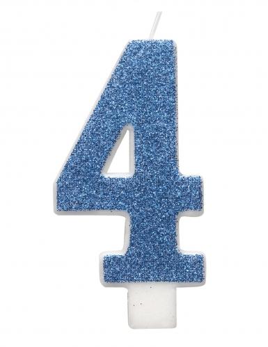 Bougie d'anniversaire chiffre bleue pailletée 7 cm-4