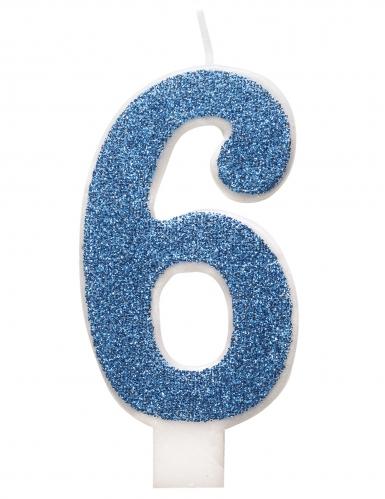 Bougie d'anniversaire chiffre bleue pailletée 7 cm-6