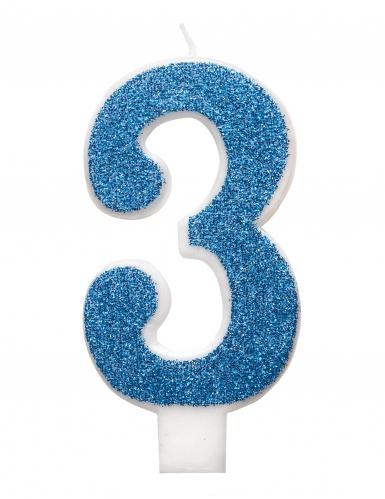 Bougie d'anniversaire chiffre bleue pailletée 7 cm-3