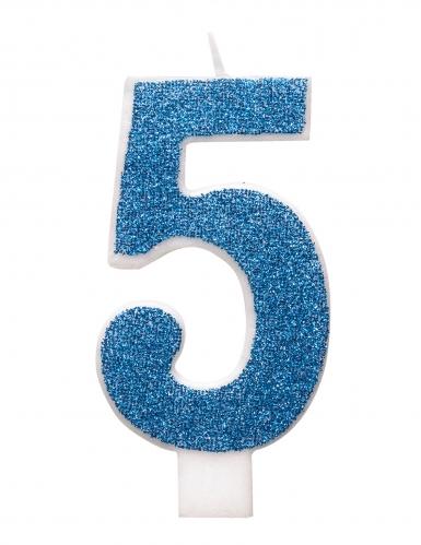 Bougie d'anniversaire chiffre bleue pailletée 7 cm-5