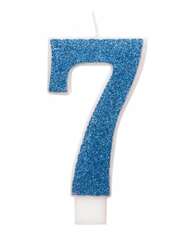 Bougie d'anniversaire chiffre bleue pailletée 7 cm-7