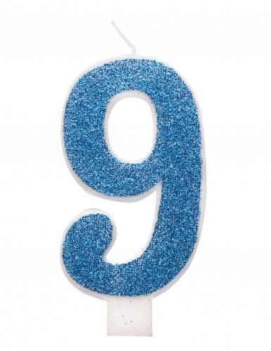 Bougie d'anniversaire chiffre bleue pailletée 7 cm-9