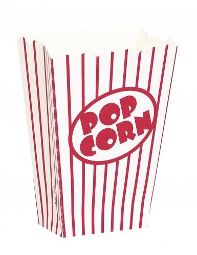 8 Petites boîtes à popcorn rayées blanches et rouges 9 cm