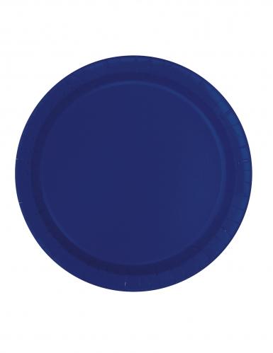 16 Assiettes en carton bleu marine 23 cm