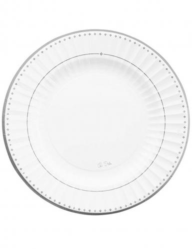 8 Assiettes en carton silver grace blanches et argentées 27 cm