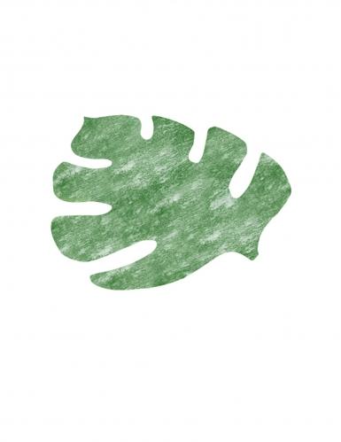 4 Sets de table feuille tropicale intissées vertes 40 x 35 cm