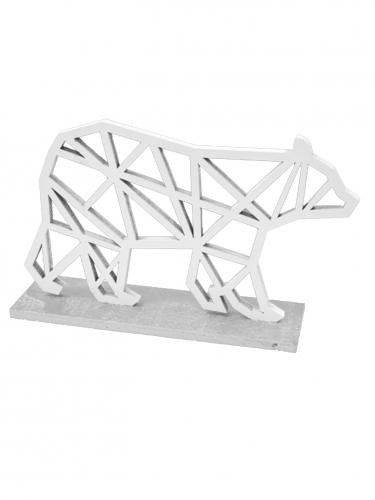 Ours polaire en bois origami argenté 14 x 9,2 cm