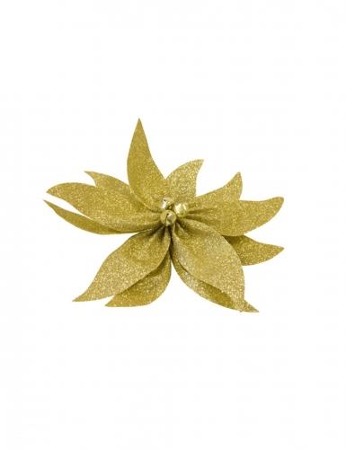 Nœud de poinsettia avec grelots pailleté doré 20 cm