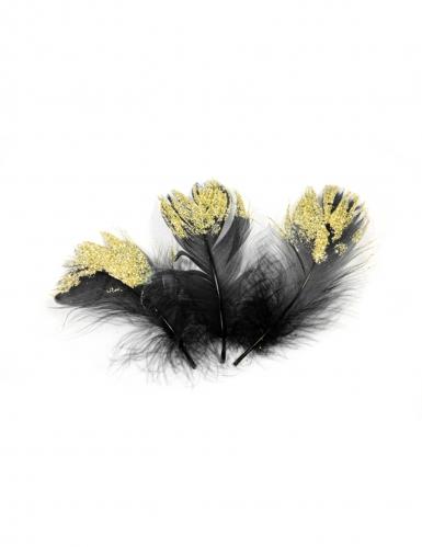 20 Plumes pailletées noires et dorées pailletées 7,5 cm