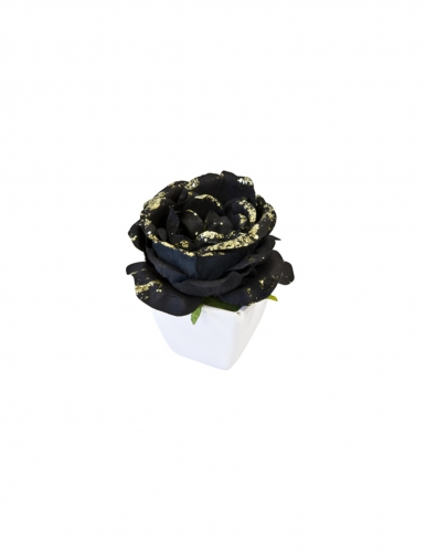 Rose artificielle noire pailletée pot blanc 8 cm