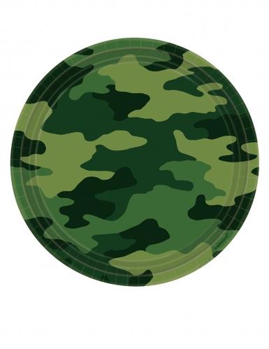 8 Assiettes en carton camouflage 23 cm