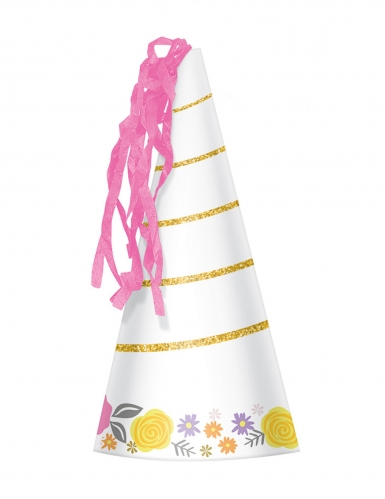 8 Chapeaux de fête en carton jolie licorne magique 17 cm