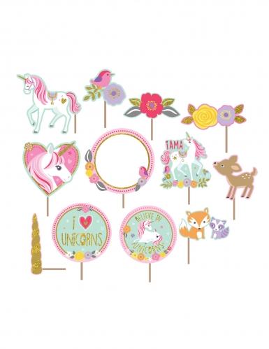 12 Accessoires photobooth et décoration murale jolie licorne magique-1