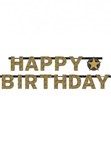 Guirlande lettres Happy Birthday célébration étincelante 2,13 m