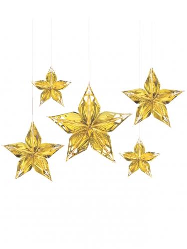 5 Décorations étoiles à suspendre métallisées dorées
