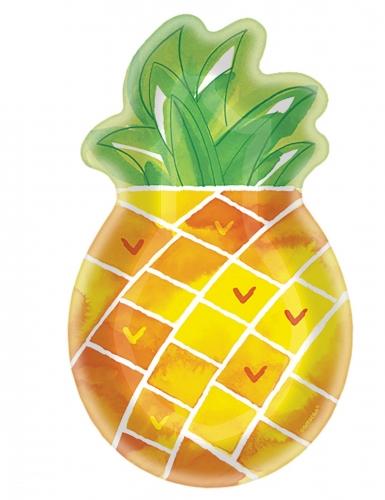 8 Assiettes forme ananas en carton 27 cm