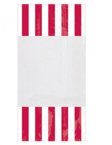 10 Sachets en plastique rayés rouge 25 x 13 cm