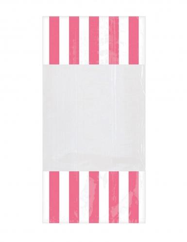 10 Sachets en plastique rayés rose 25 x 13 cm