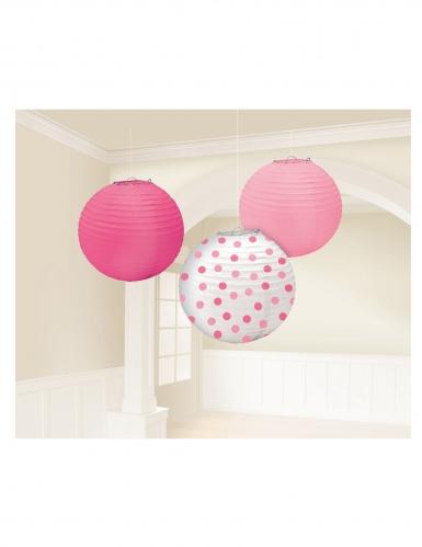 3 Lanternes rondes en papier rose blanche et fuchsia 24 cm