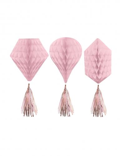 3 Décorations à suspendre alvéolées en papier rose gold 30 cm