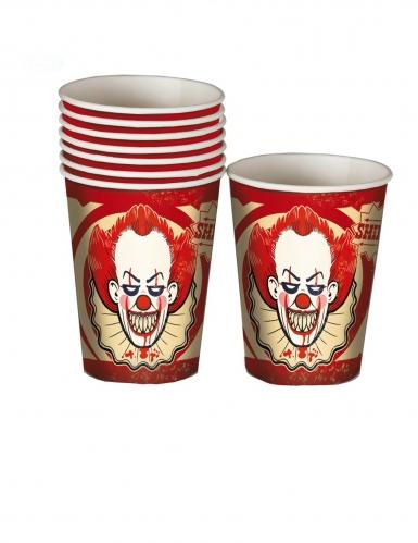 8 Gobelets en carton clown assassin 250 ml