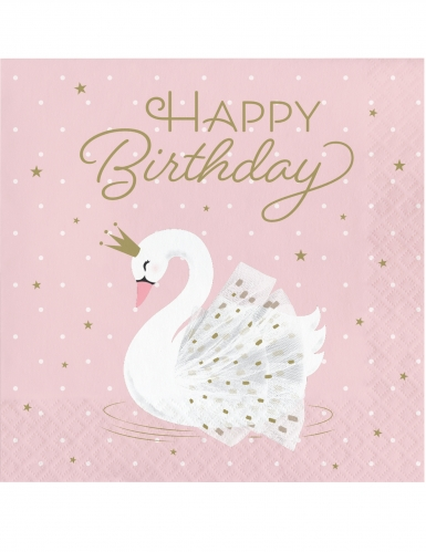 16 Serviettes en papier happy birthday cygne royal roses 33 x 33 cm