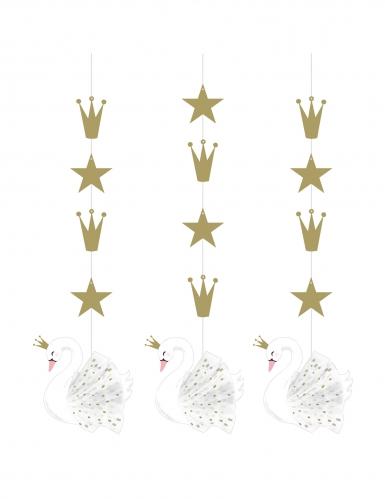 3 Suspensions en carton cygne royal blanches 17,8 x 81,3 cm