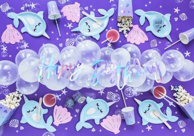 6 Gobelets en carton licorne des mers bleus 220 ml-3