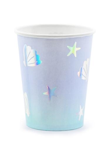 6 Gobelets en carton licorne des mers bleus 220 ml