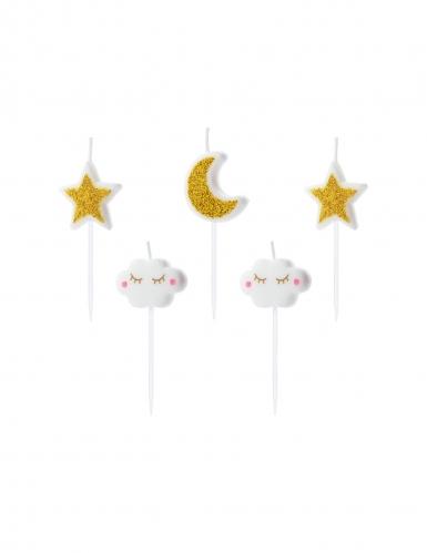 5 Bougies d'anniversaire constellation blanc et doré 2 - 3 cm
