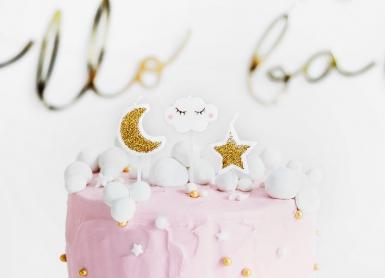 5 Bougies d'anniversaire constellation blanc et doré 2 - 3 cm-1