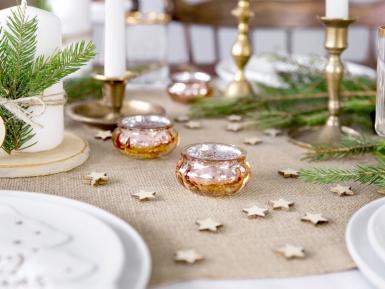 4 Photophores en verre miroir rose gold 6 x 3 cm-1