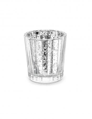 4 Photophores en verre argenté 6 cm