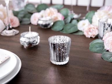 4 Photophores en verre argenté 6 cm-1