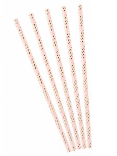 10 Pailles en carton roses rayées doré métallisé 19,5 cm